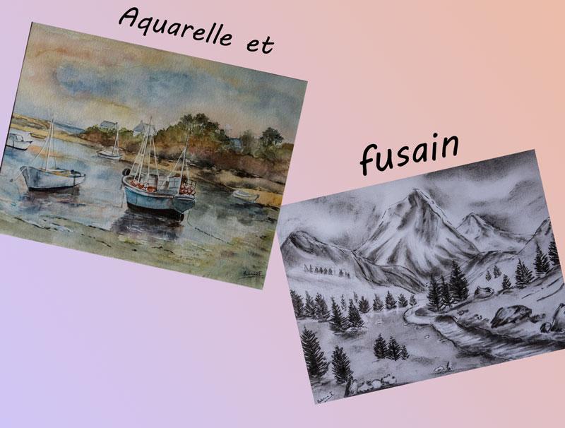 Aquarelle-et-fusain
